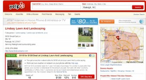 Lindsay Lawn and Landscaping Raleigh NC SEO Marketing Yelp deal